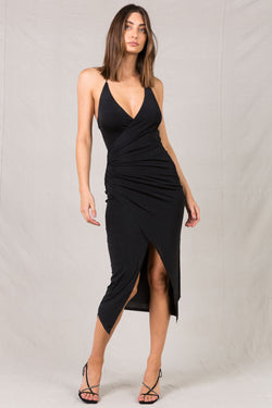 RIMA BLACK MIDI DRESS