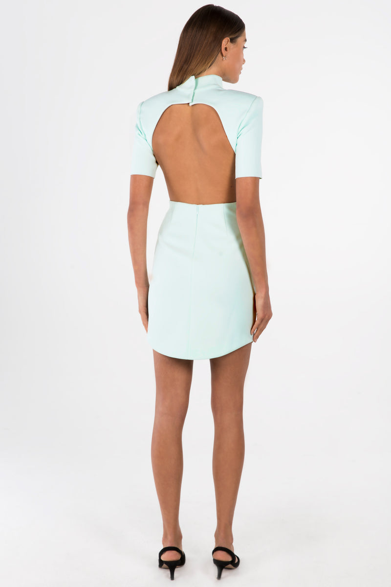 KYRA MINT BACKLESS MINI DRESS
