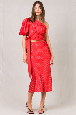 DELLIE RED MIDI SKIRT