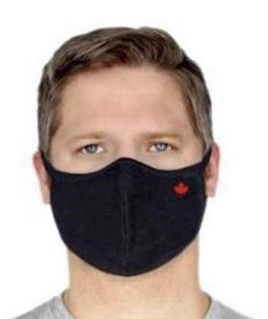 Red Leaf Premium Bamboo/Cotton 2 ply lightweight Face Mask-Black
