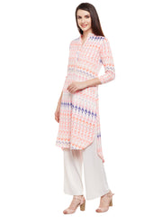 Fabnest Women Printed Orange Kurta High Low