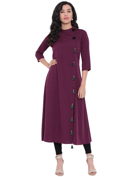 Fabnest Women's Crepe Kurta / Kurti With Green Tassles On The Side