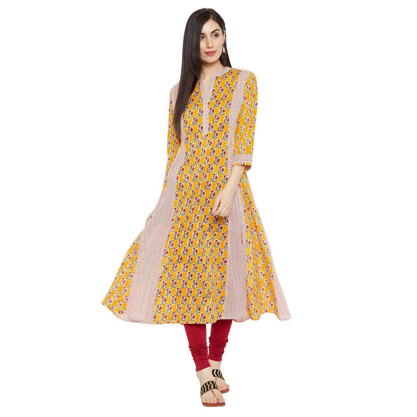 Fabnest Kalidaar Cotton Kurta Kurti for Women in Summer Yellow and White Colours