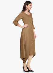 Fabnest Womens khaki rayon kurta with assymetrical bottom