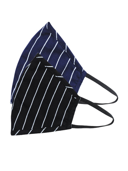Fabnest Unisex Rayon 3 Ply Blue/Black Vertical Stripe Comfortable Face Masks (Pack Of 2)