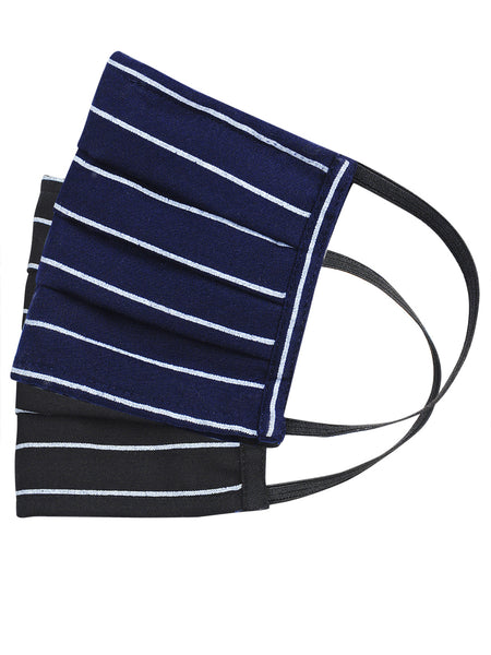 Fabnest Unisex Rayon 3 Ply Blue/Black Horizontal Stripe Comfortable Face Masks (Pack Of 2)