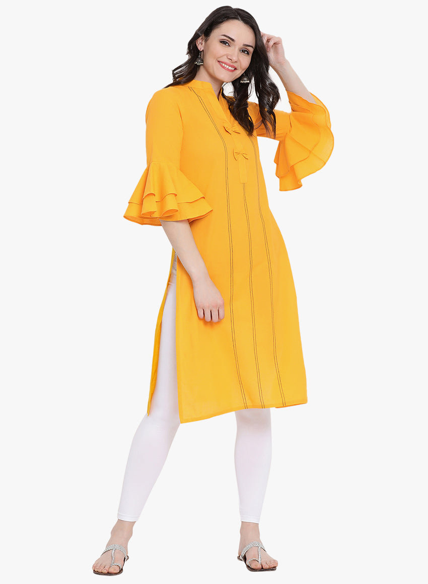 Fabnest womens cotton yellow kurta with flounce sleeve and black thread work
