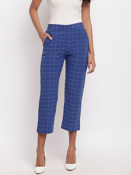 Fabnest womens handloom cotton blue window check strsight pants