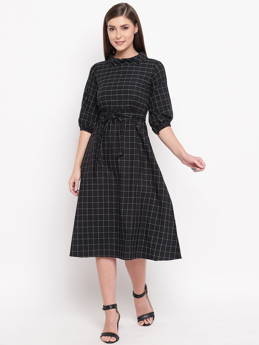 Fabnest womens black window pane a line dress with folded round collar