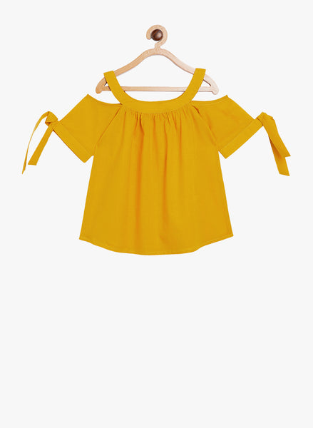 Fabnest girls cotton cold shoulder gathered yellow top with sleeve tie ups