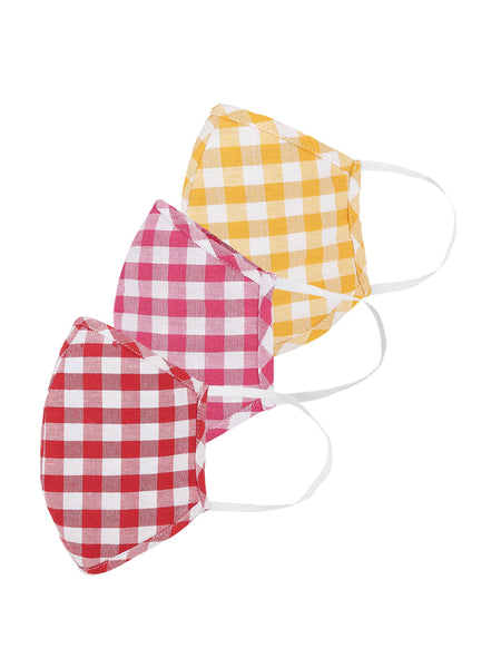 Fabnest Womens Red And Yellow And Pink check Face Masks Pack Of 3