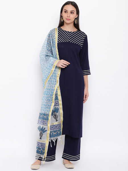 Fabnest womens rayon navy gota embellishment kurta and pant with zari printed dupatta