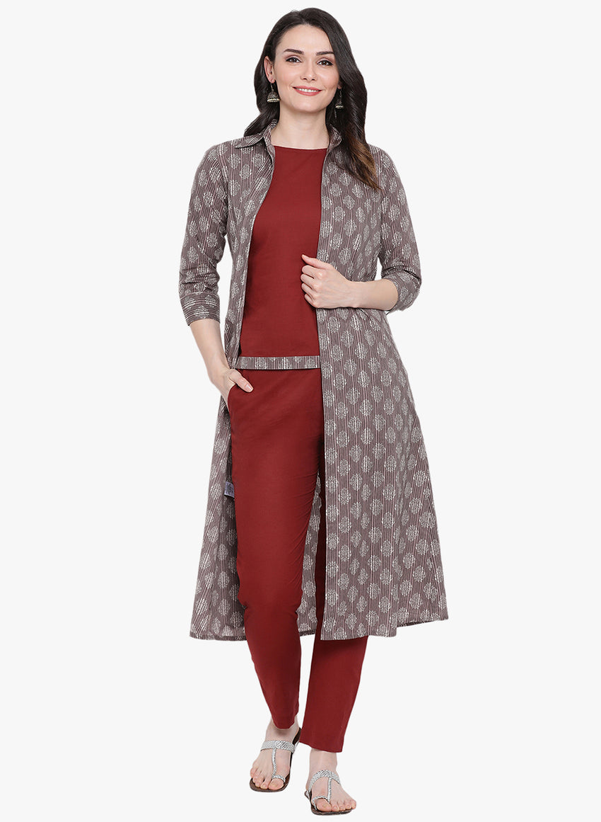 Fabnest womens maroon sleeveless cotton  top and straight pants and a grey printed long jacket