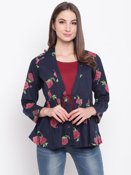 Fabnest womens rose print indigo cotton shrug with attached maroon lining