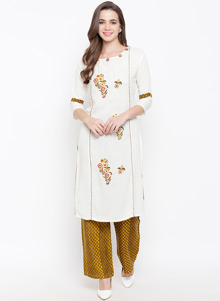 Fabnest womens rayon cream kurta palazzo set with floral embroidery