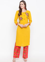 Fabnest womens rayon yellow pintuck kurta palazzo set with floral embroidery