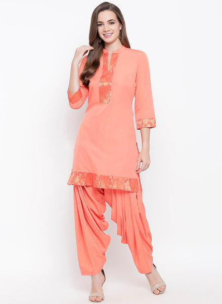 Fabnest womens peach kurta salwar set with broace inserts