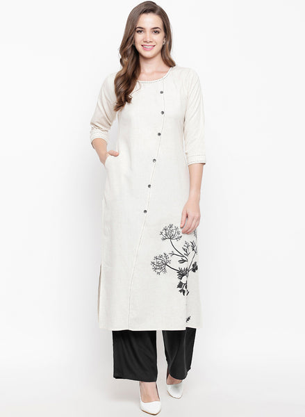 Fabnest women rayon off white kurta palazzo set with tagaai work and embroidery