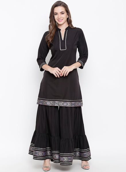 Fabnest womens black sharara set with brocade lace