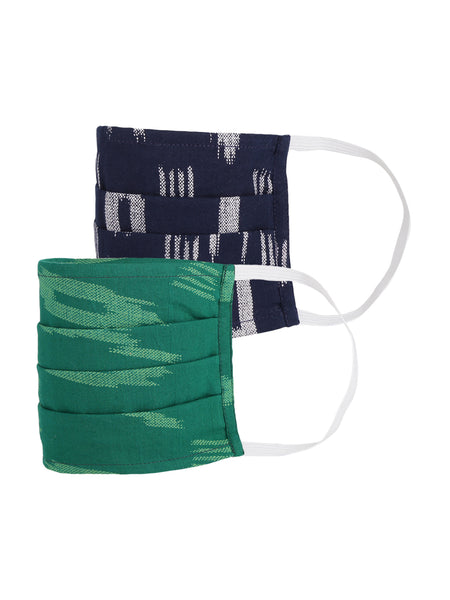 Fabnest Womens Dark Blue And Dark Green Ikkat Face Masks Pack Of 2