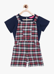 Fabnest girls check cotton dungaree with solid navy top