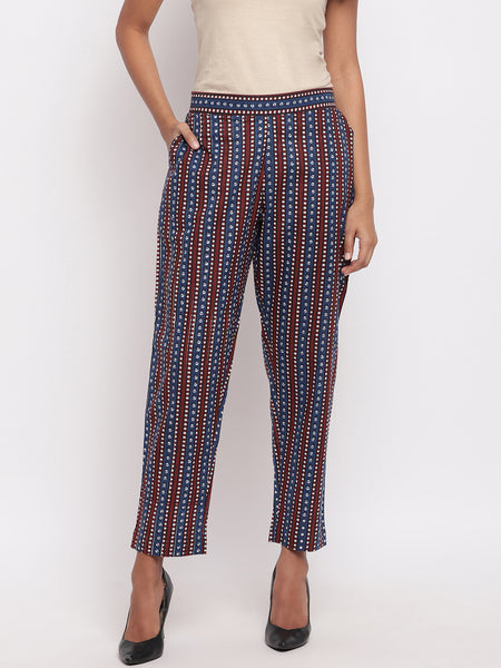 Fabnest womens indigo patterned stripe cotton pants