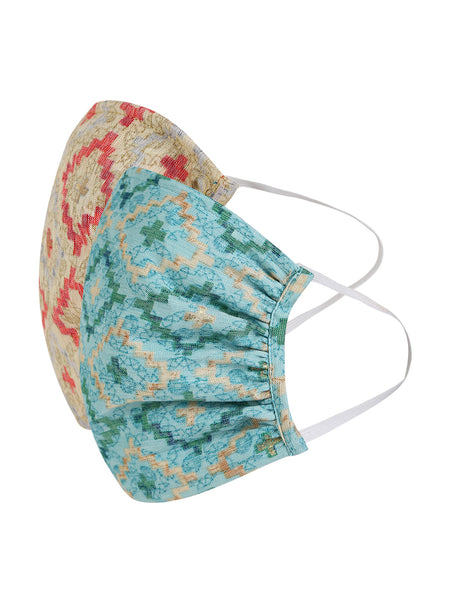 Fabnest Womens Beige And Blue Printed Face Masks Pack Of 2