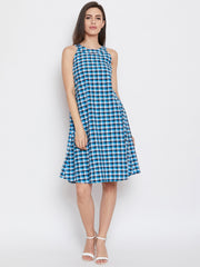 Fabnest blue multi coloured sleeveless check dress