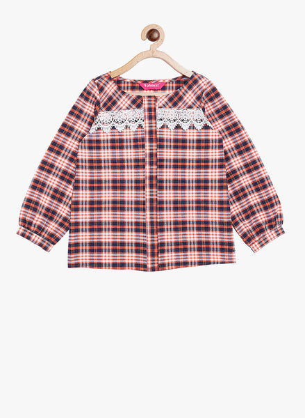 Fabnest girls cotton check shirt style top with lace inserts and balloon sleeves