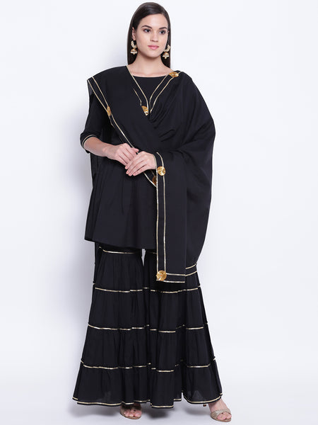 Fabnest womens cotton black peplum top sharara set with gota lace and flowers decorated cotton dupatta.