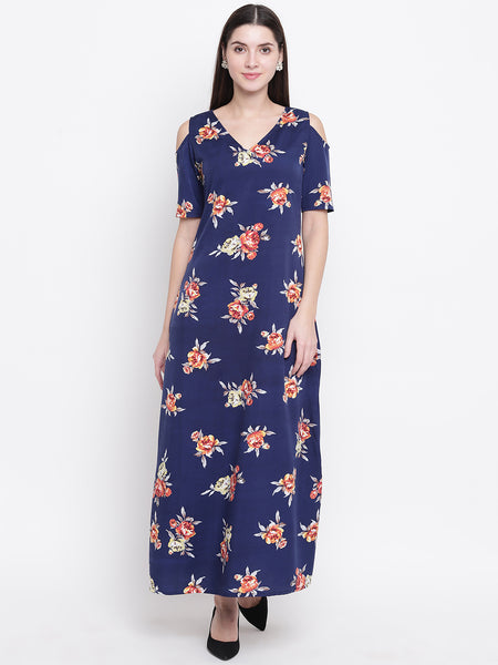 Fabnest womens crepe navy floral printed maxi dress with cold shoulders