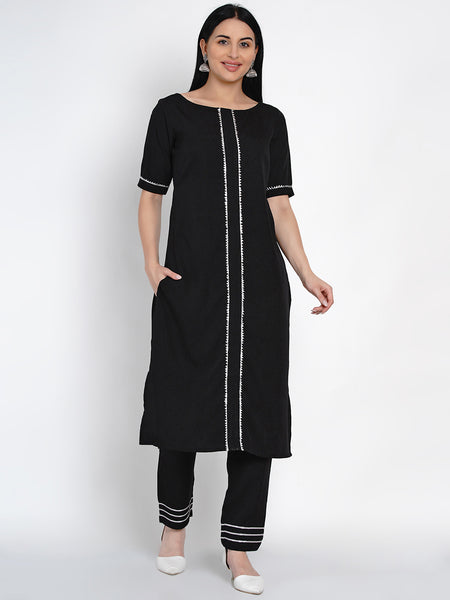 Fabnest Womens Black Crepe Straight Kurta And Pant Set With Gota Inserts