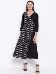 Fabnest womens cotton black solid and ikkat angarkha kurta