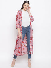 Fabnest womens crepe onion coloured floral printed cape/shrug