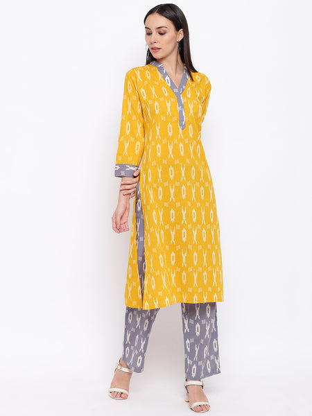 Fabnest womens cotton yellow and grey ikkat set of a ikkat Kurta's with accents and pants