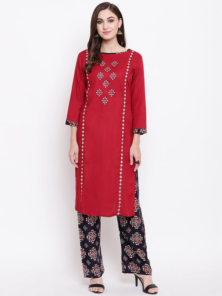 Fabnest womens rayon red kurta palazzo set with embroidery