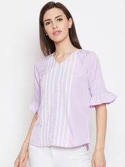 Fabnest womens lilac crepe top with lace inserts