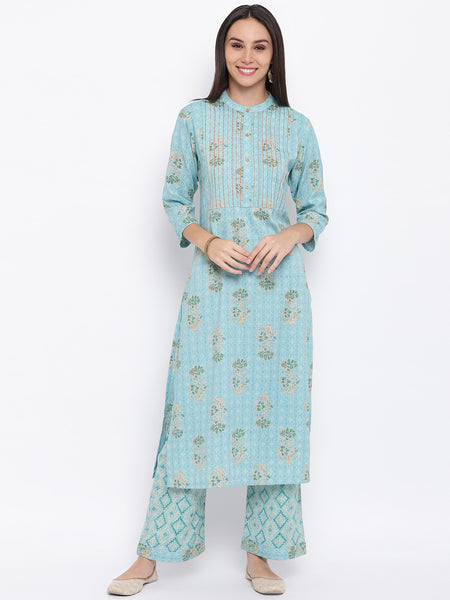 Fabnest womens rayon light blue printed kurta and pant set with contrast stitch detail at yoke.