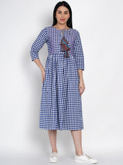 Fabnest Womens Handloom Cotton Blue And White Check Dress With Pintuck At Yoke And Colourfull Tassle