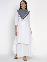 Fabnest Womens Cotton White Basic Kurta With Black And White Check Cotton Scarf