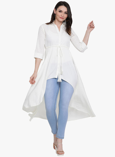 Fabnest womens white crepe assymetrical tunic