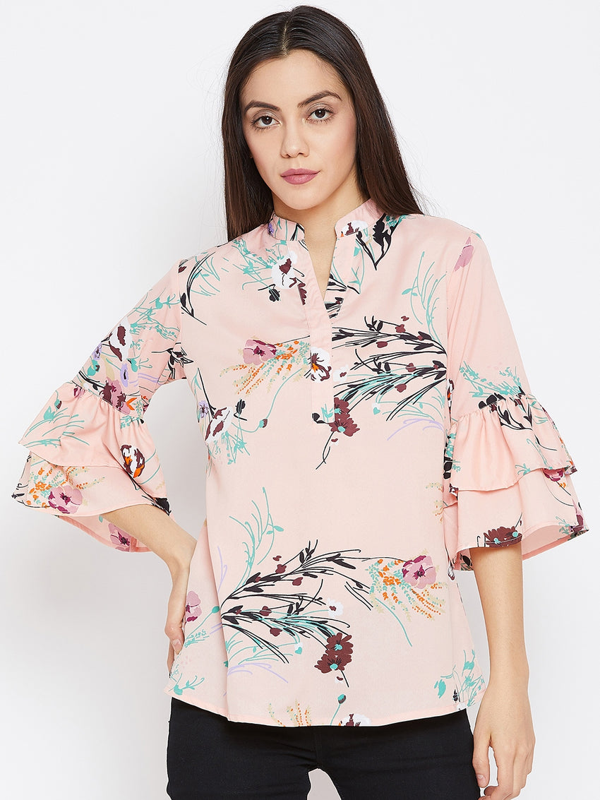 Fabnest women floral tunic with double flounce sleeve