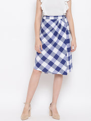 Fabnest Womens Cotton Handloom wrap around skirt in blue and white bold checks