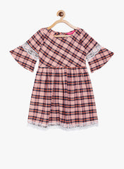 Fabnest girls check cotton dress with flared sleeve and lace inserts