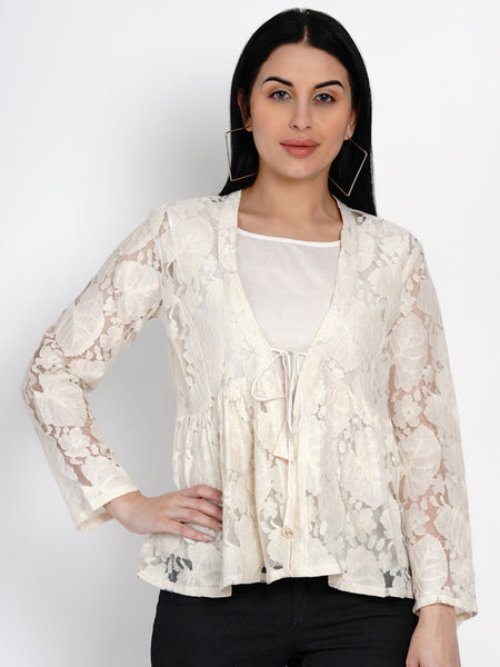 Fabnest Womens Off White Lace Top With Front Tie And Cotton Lining