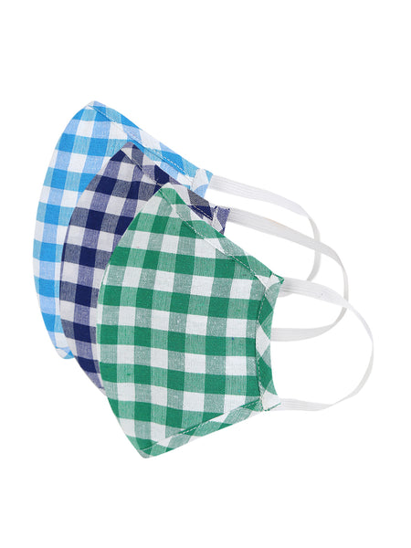 Fabnest Unisex Blue/White Light Blue/White Green/White Check Face Masks Pack Of 3