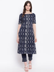 Fabnest womens ikkat print cotton kurta set with silver gota inserts
