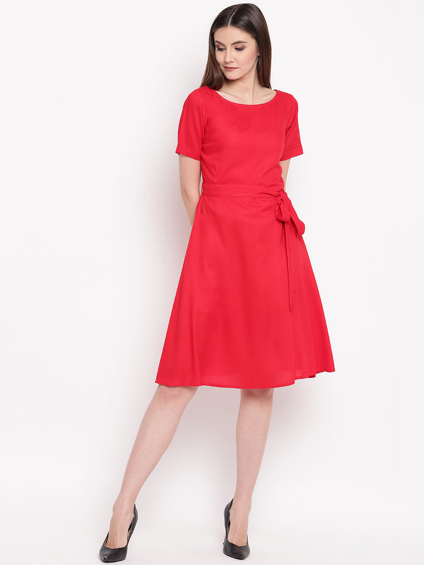 Fabnest womens rayon red fit and flare knee length dress with belt at waist