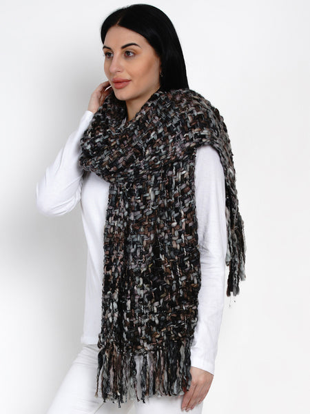 Fabnest Women Black Acrylic Winter Scarf