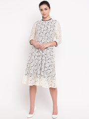 Fabnest womens off white floral self design lace dress